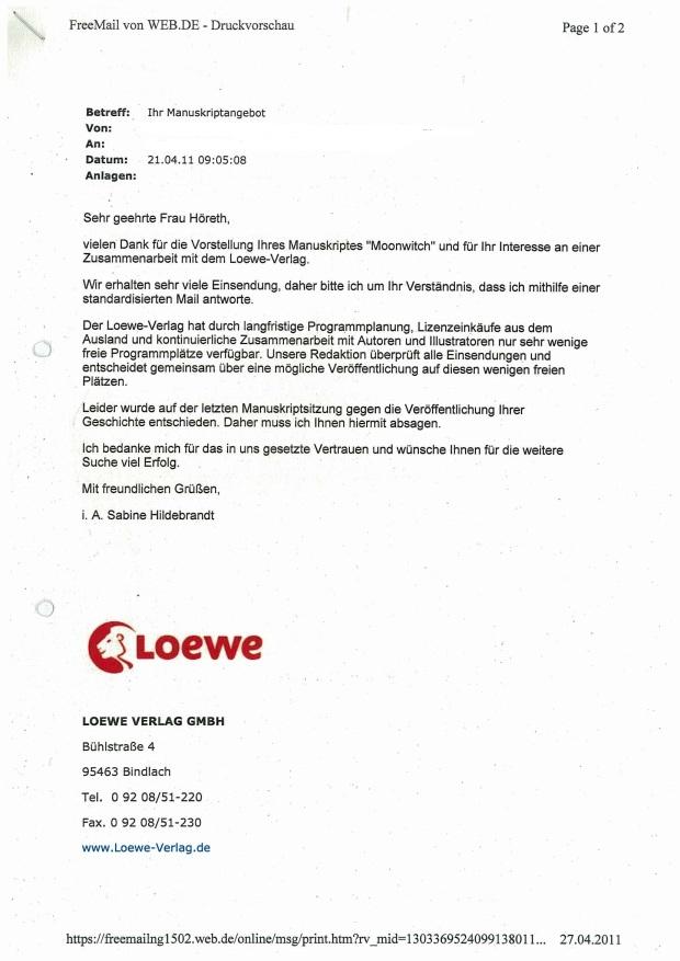 Antwortschreiben Loewe
